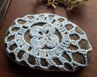 Mandala Stone, Boho Decor, Natural Dye Indigo, Four Leaf Clover