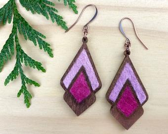 Geometric Wood Earrings, Natural Wood and Wool, Diamond Teardrop Dangles, Ombre Pink, Eco Friendly Jewelry, Boho Syle
