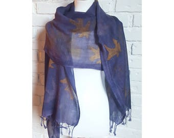 Eco Printed Wool Scarf, Naturally Dyed with Logwood and Oak Leaves