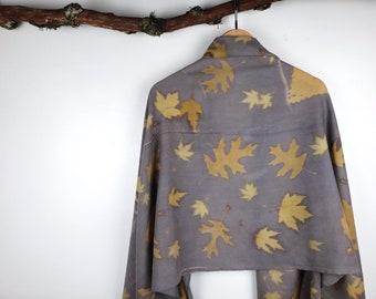 Plant Dyed Merino Wool Pashmina, Natural Dye Botanical Print Scarf, Soft Wool Eco Print, Leaf Design, Gray and Yellow