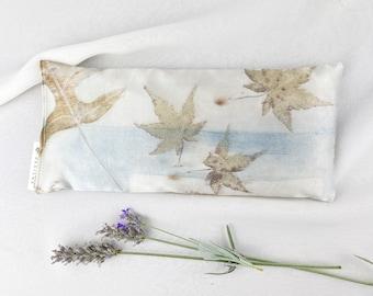 Indigo Dyed Silk Eye Pillow, Ecoprint Silk, Organic Lavender and Flax Seed Eye Pillow, Botanical Print, Yoga Savasana