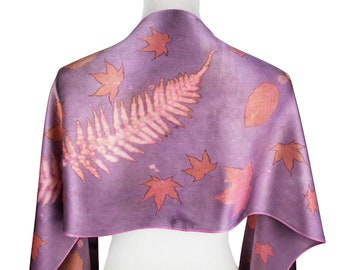 Fern Print Scarf, Pink and Purple Hand Dyed Silk Scarf, Ecoprint Silk Scarf, Natural Dye, Spring Scarf