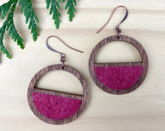 Dark Pink Natural Wood Wool Earrings, Naturally Dyed Jewelry, Round Semi-Circles, Eco Friendly Jewelry, Wood Hoops