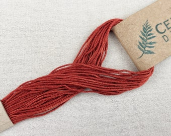 Red-Orange Naturally Dyed Embroidery Floss (R2), Peace Silk Embroidery Floss, Ahimsa Silk, Plant Dyed, Hand Embroidery Thread
