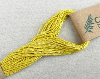 Bright Yellow Plant Dyed Embroidery Floss (Y7), Peace Silk Embroidery Floss, Ahimsa Silk, Naturally Dyed Embroidery Floss
