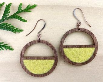 Yellow Wood Earrings, Lightweight Wooden Hoops, Wool Felt Jewelry, Plant Dyed Textile, Boho Style Earrings, Half Circle