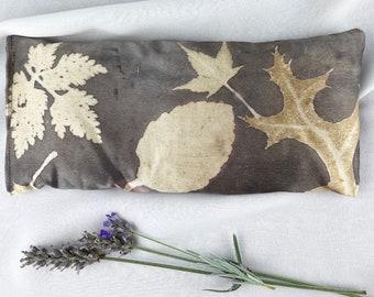 Leaf Print Silk Eye Pillow, Organic Flax Lavender Eye Pillow, Naturally Dyed, Eco print, Botanical Print Aromatherapy Eye Pillow