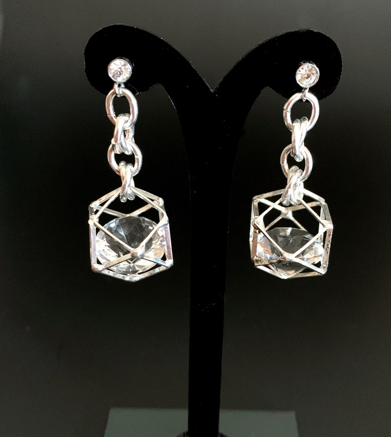 Caged Crystal Earrings Diamond Shape Crystals Stainless Steel Posts Captured Crystal Post Earrings Drop Earrings Dangly Silver Earrings-E277