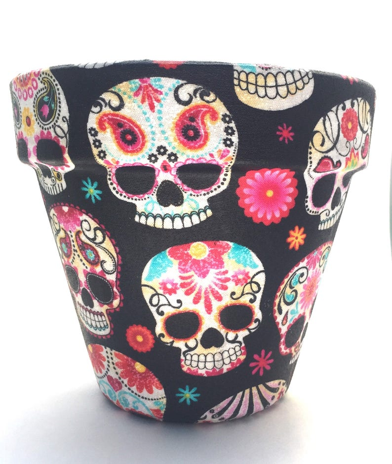 Day Of The Dead Skulls Black Flower Pot Medium image 0