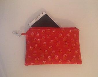 cell phone case wallet zipped pouch made of vintage orange marimekko fabric Rahka red iPhone Nokia LG  tillukka