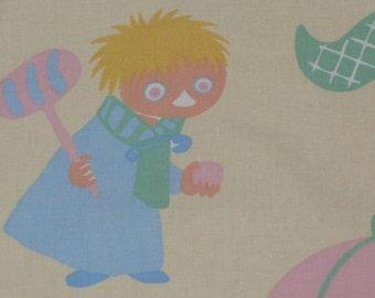 Very old rare vintage Moomin fabric 70s Little My Tooticky Snufkin
