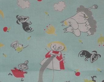 Moomin fabric Fairytale Moomin light turquoise background