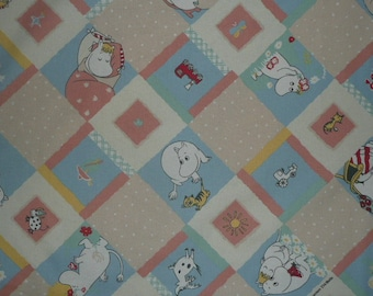 really cute vintage moomin fabric, yellow, blue, beige