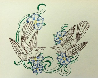 Two Brown Birds, original pen and ink drawing