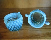Fenton Opalescent Blue Sugar Creamer