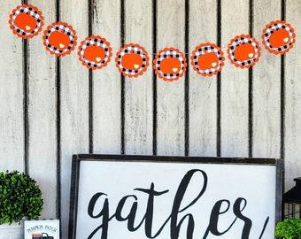 Checkered Orange Pumpkin Garland | Buffalo Check Halloween Garland | Black White Checkered Paper Banner | Fall  Decoration | Buffalo Plaid