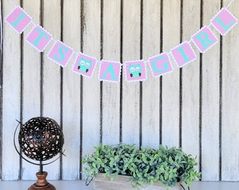 IT'S A GIRL baby shower banner | Plaid Pink, Mint| Baby Shower or Gender Reveal photo prop  | Baby Girl Bedroom Decoration | Woodland Owl