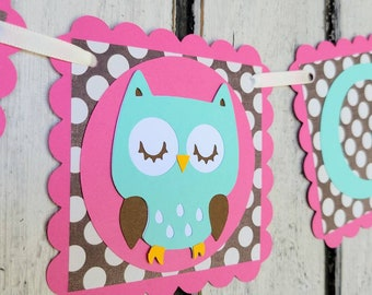 BABY GIRL owl baby shower banner | Pink Mint Brown | New Baby photo prop Nursery Decoration | Polka Dot Owl Bedroom Decor - Woodland Owl