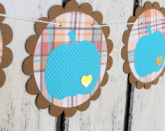 Fall Pumpkin Garland - Plaid Thanksgiving Banner - Fall pumpkin Bunting - Autumn Pumpkin Decoration - Plaid Banner - Blue Pumpkin Patch