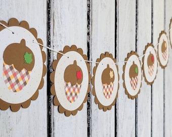 Plaid Acorn Garland - Autumn Hanging Thanksgiving Banner - Fall colored Acorns - Autumn Home Decoration - Thanksgiving Gathering Decoration