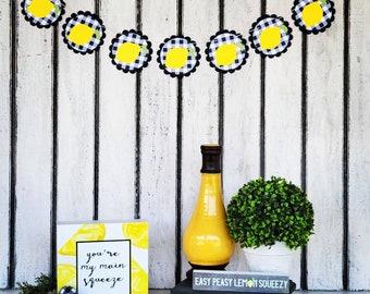 Lemon Garland | Buffalo Check Summer Garland | Yellow Lemon Garland - Black & White Checkered Paper Banner | Lemon Squeezed Home Decoration