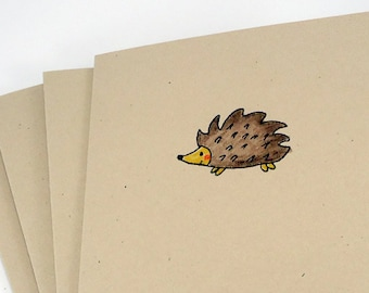 Hedgehogs note cards set, blank note cards 4 pack, simple note cards, All Occasion, Thank You, hello, birthday, stationery set, teacher gift