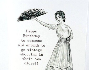 Funny Birthday Card 50th 60th 40th Getting Old Snarky For Her Lady Vintage Milestone