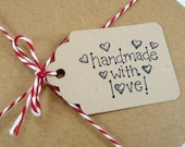 16 hang tags with string, Handmade with Love, Christmas gift tags, holiday tags, gift wrap, packaging tags, price tags