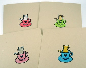 Cat note cards set, kitty in a teacup, blank note card set of 4, boxed cards, All Occasion, Thank You cards, birthday, stationery set,