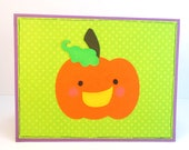 Pumpkin Halloween card, jack o lantern, kawaii, trick or treating, kids card, card for child, handmade greeting card, destash, card sale