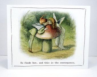 Elf Fairy greeting card, romantic fairy card, anniversary card, wedding card, i love you card, fairy garden,  vintage fairy wall art