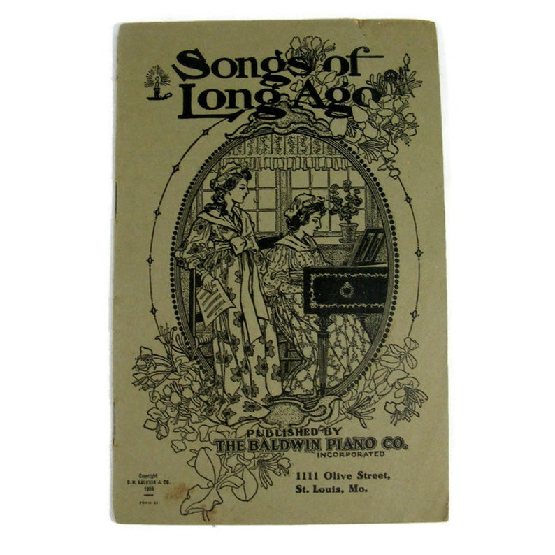 Antique music book Songs of Long Ago from 1905 image 0