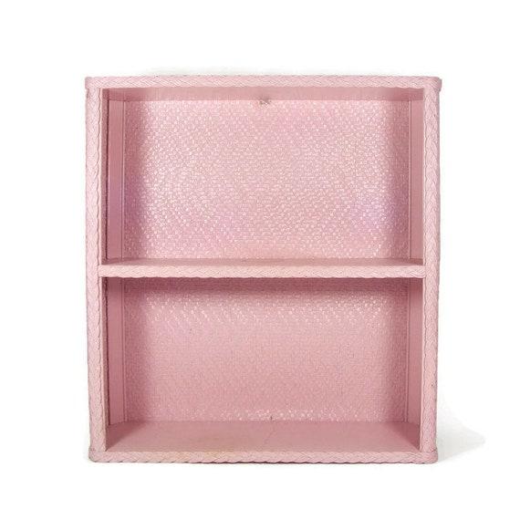 Wicker Wall Shelf Bathroom: Pink Wood And Wicker Wall Shelf Unit Vintage Bathroom