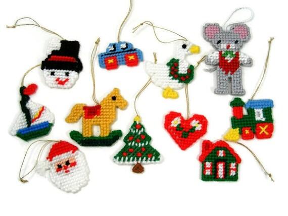Plastic Canvas Christmas Ornaments.Vintage Plastic Canvas Christmas Ornaments Set Of 11