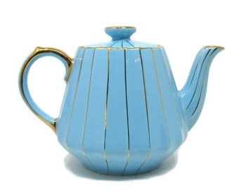 Blue and Gold Teapot by James Sadler Light Blue with Gold Pinstripe 4 cup Tea Pot