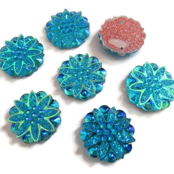 25MM LARGE ROUND CABOCHONS,FLOWERY CLOTH DESIGN CHOOSE AMOUNT JEWELLERY MAKING