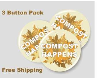 Handmade compost the rich black and gold pin badge
