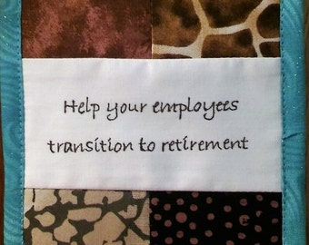 """Help Your Employees Transition to Retirement, Fiber Art, Cubicle Wall Hanging, Wisdom, Patchwork 4.5X6.5"""" - browns"""