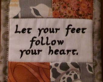 """Let Your Feet Follow Your Heart, Cubicle Fiber Art Wall Hanging, Intentions, Transitions, Retirement, 4.5X6.5"""" Patchwork, Rusty Beach Colors"""