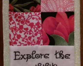 """Explore The Possibilities, Curiosity, Resourcefulness, Coaching, Creativity, Cubicle Fiber Art Wall Hanging 4.5X6.5"""", Retirement, Red, Green"""