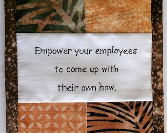 """Empowerment Your Empolyees to Come Up With Their Own How, Cubicle Fiber Art Wall Hanging 4.5X6.5"""", Empowerment, Choices, Development, Browns"""