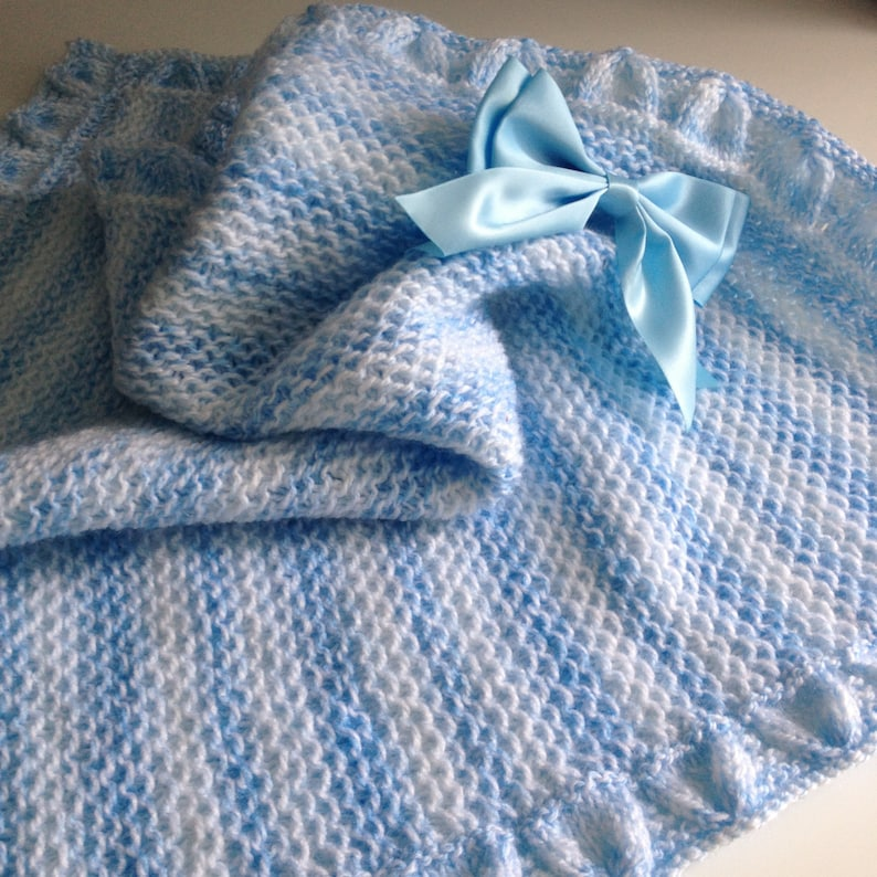 078d1aefef4843 SALE Little Boy Blue baby blanket knitting pattern