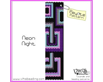 Neon Night - Peyote Pattern for bracelet - INSTANT DOWNLOAD pdf - New coupon codes with coupon code