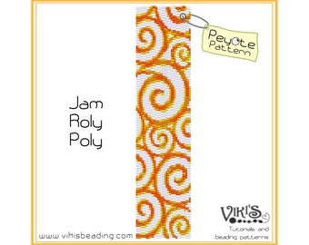 Peyote Pattern for bracelet: Jam-Roly-Poly - INSTANT DOWNLOAD pdf - buy more, save more