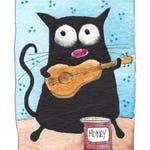ACEO Original watercolor - Playing for pennies