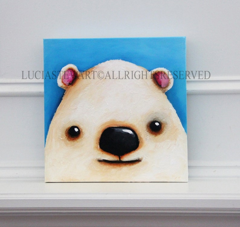 Polar Bear Painting,Polar Bear,Original Painting,Woodland Animal,Original,Whimsical Painting,Home Decor,Acrylic Canvas,Art To Make You Smile