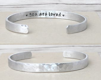 You Are Loved, Inspirational bracelet, Motivational cuff