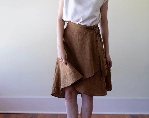 Linen - Wrap Skirt, High-Low Hem, Pockets, Tie Waist, Linen Skirt
