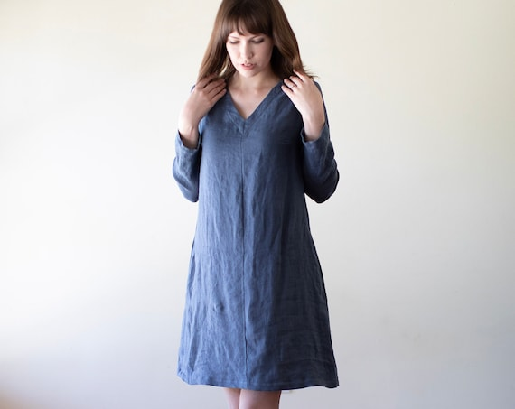 Linen - V Neck Linen Shift Dress, Long Sleeve, Relaxed Fit, Pockets, Optional Belt