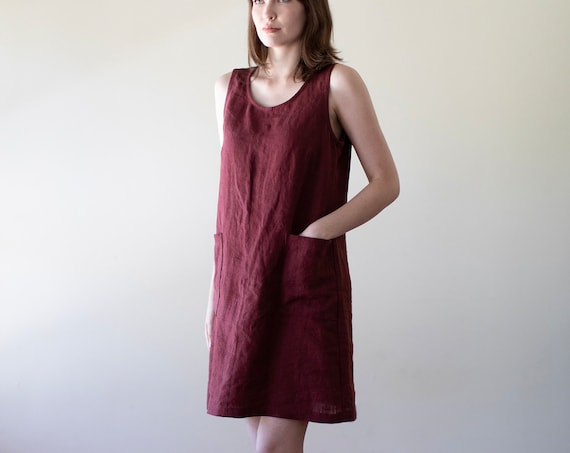 Linen - Scoop Neck, Shift Tank Dress, Jumper Dress, Linen Tank Dress